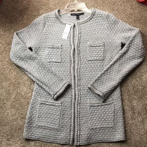 WHBM NWT Silver Sequin Cardigan Size Small